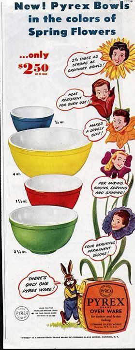 Vintage Pyrex Advertisement. Primary Mixing Bowls.