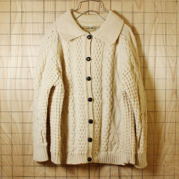 Clady knit/アイルランド製古着/オフホワイト/襟付きニットフィッシャーマンカーディガン/レディースL相当