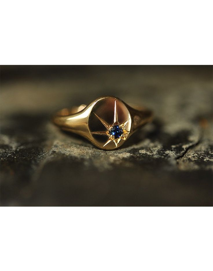 Sapphire Star Signet Ring - Laura Lee Jewellery - 1