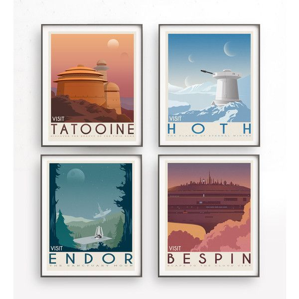 Star Wars set of 4 travel poster vintage. Starwars planet... ($31) ❤ liked on Polyvore featuring home, home decor, wall art, star wars home decor, outer space wall art, landscape wall art, star wars wall art and star wars travel posters