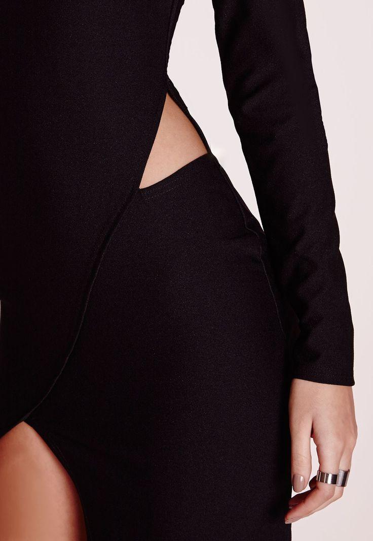 Long Sleeve Asymmetric Hem Bodycon Dress Black - Dresses - LBD - Missguided