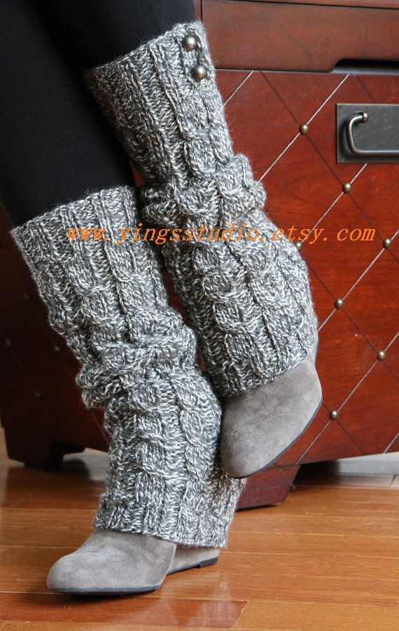 Leg Warmers - Boot cuffs - Woman Leg Warmers - Cable Knitted - Hand Knit - 100% wool - Marled Grey - Dark Silver Button - Winter Accessories $65.00 USD