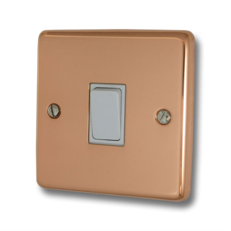 Contour Copper Light Switch (1 Gang/White Switch)
