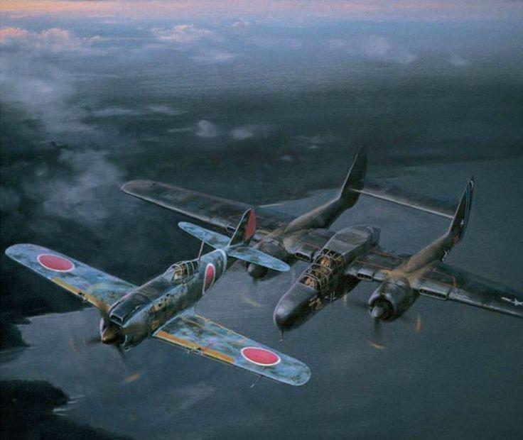Caught in the Widow's Web, by Jack Fellows (Nakajima Ki-84 Hayate 'Frank' & P-61 'Black Widow')