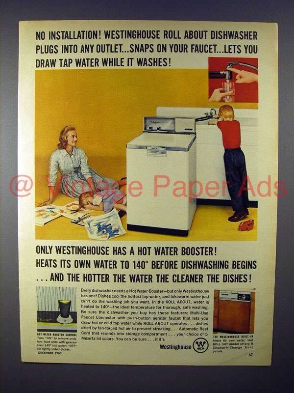 Ap646 1960 Westinghouse Roll About Dishwasher Ad Westinghouse