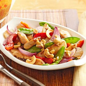Diabetic Friendly ~ Cashew Chicken. Enjoy this lower-calorie version of a favorite stir-fry instead of visiting a restaurant. Serving it with whole grain brown rice instead of white rice makes it even better for you.