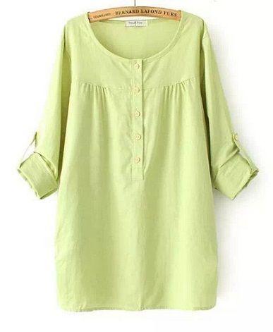 2015 Весна плюс Размер женщин Повседневная Solid из хлопка и льна с длинным рукавом пуловер рубашка M-2XL длинная блузка с карманом T422
