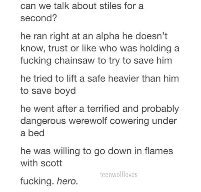 Excuse the language but it's so true. Teen Wolf- Motel California- Season 3//PREACH, you're my hero stiles
