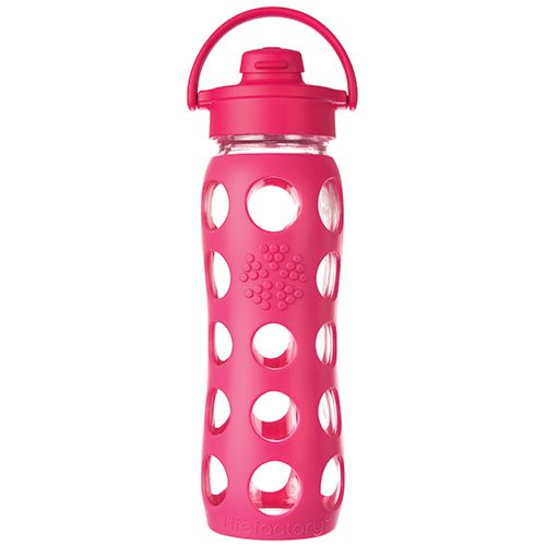 If you work up a big thirst, the Lifefactory 22 Oz. Glass Water Bottle with Flip Cap and Raspberry Silicone Sleeve is for you.