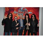 CEO of Dolby Laboratories Kevin Yeaman Poses with Members from the Iconic Rock Band KISS at a Special Promotional Screening of the 'KISS…