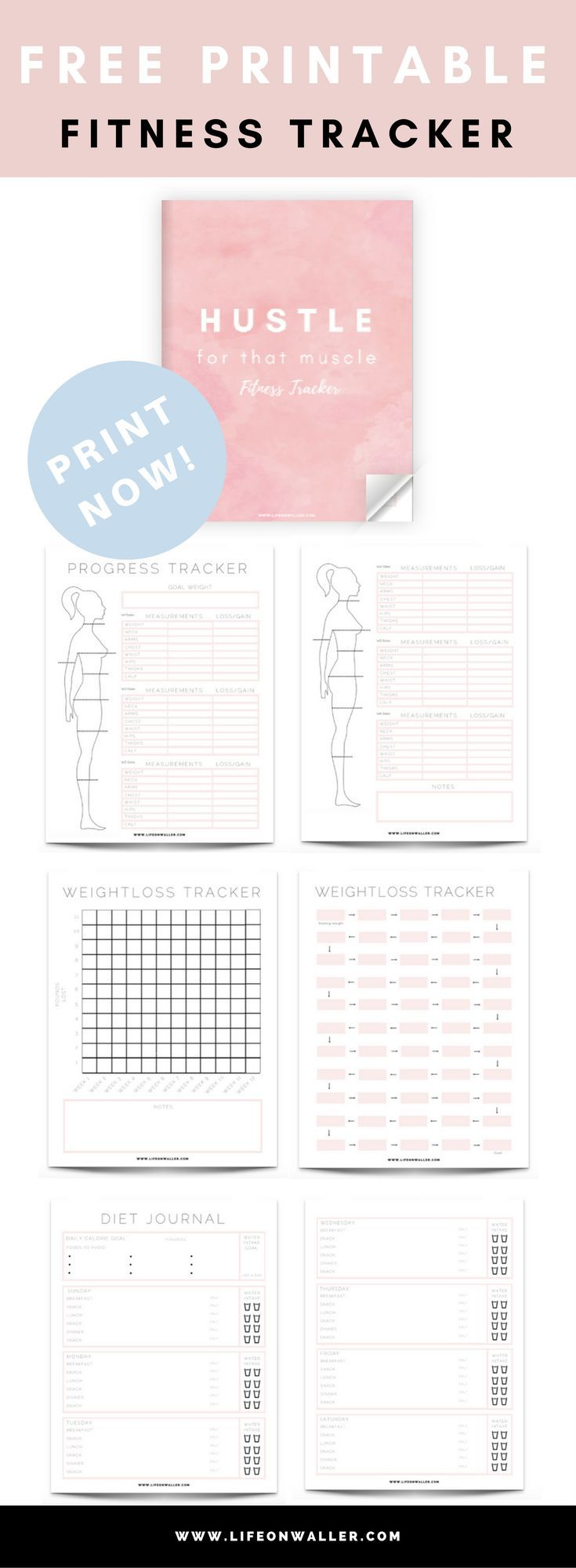 7 page free printable PDF fitness tracker, progress tracker, weight loss, and di…