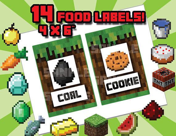 picture about Free Printable Minecraft Food Tents identify Minecraft Tent Labels Cost-free Printable Minecraft Foods Labels