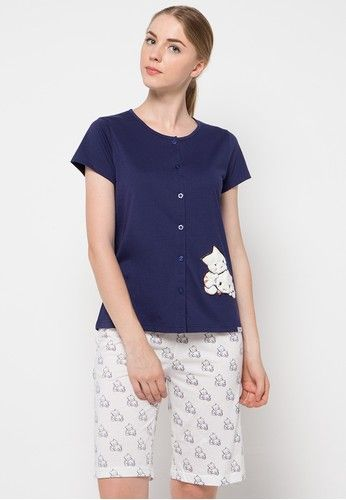 Mona Sleep Wear from Puppy in white and navy_1