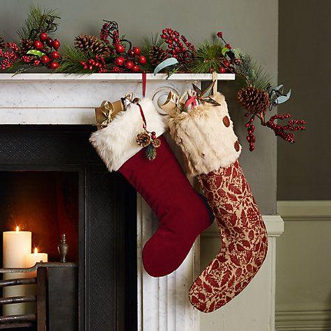 Buy john lewis ruskin house velvet stocking red online at johnlewis com