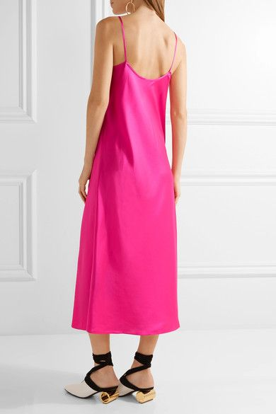 Ellery - Technopriest Silk-satin Midi Dress - Fuchsia - UK14