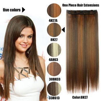 61 Centímetros 120 Gramas 1 peça Mega Hair Tic Tac Cabelo Sintético Liso Castanhos/Pretos Mechados //Price: $68.00 & FREE Shipping