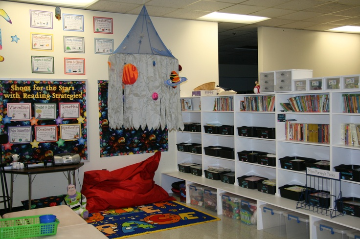 Pin by alex quintanilla on classroom pinterest spaces for Space themed book corner