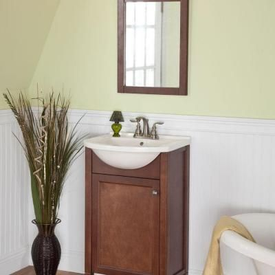 Pic Of Vanity in Hazelnut with Porcelain Vanity Top in White