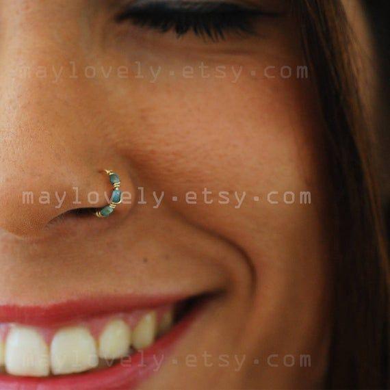 Nose Ring Hoop Turquoise Nose Hoop Nose Piercing Tragus Hoop