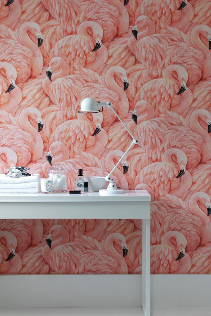 Hey good looking! You can't get much more fabulous than this pink flamingo wallpaper pattern.