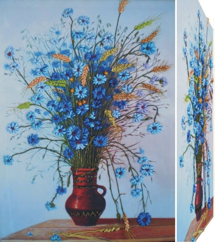 BLUE FLOWERS 3D Ribbon embroidery on printed canvas with back woodden frame size: cm. 55x40 Price: € 140,00 $ code: P017