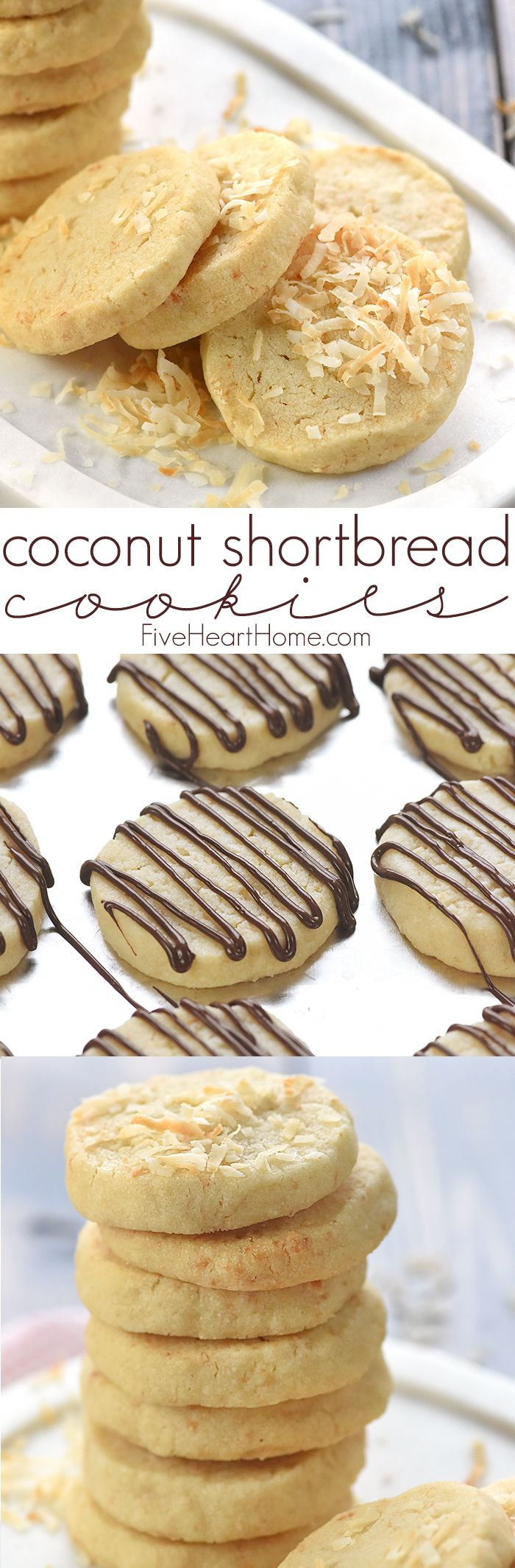 Easy Coconut Shortbread Cookies ~ tender, buttery shortbread is loaded with toasted coconut in this delicious, addictive, easy-to-make recipe! | FiveHeartHome.com