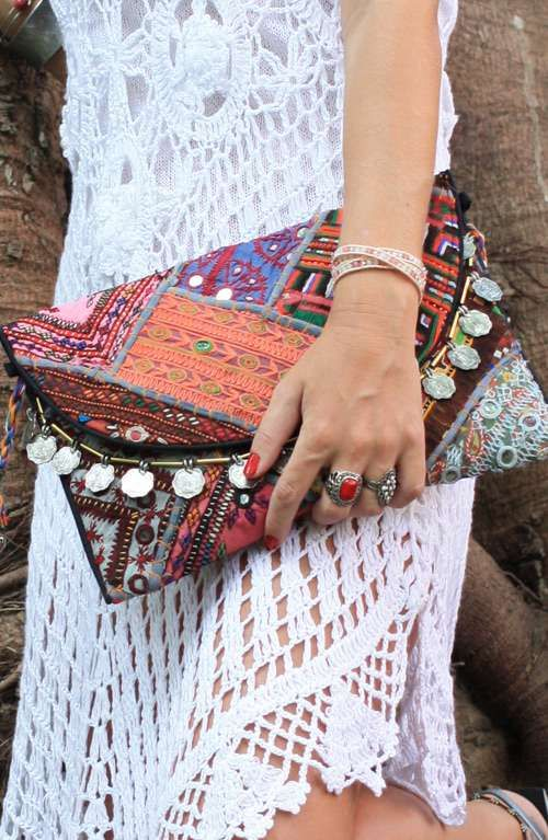 A beautiful bohemian vintage fabric large clutch handmade in India