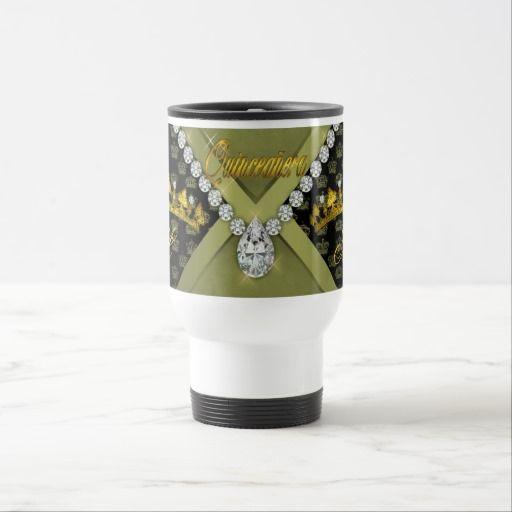 Olive Tiara Crowns Bling Diamonds Quinceanera Travel Mug