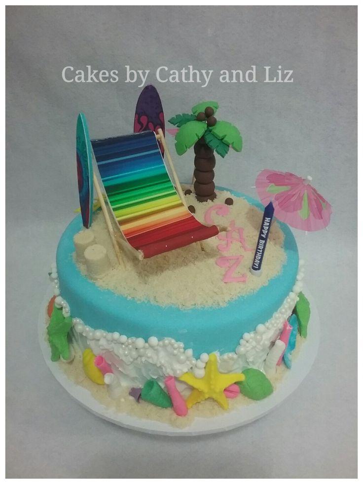 Beach theme birthday cake