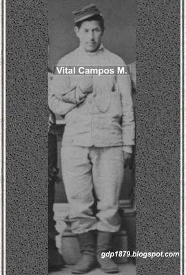 Vital Campos Mora (1858-1939). en 1879 ingresa como soldado en el Regimiento 4° de Línea. Participa en el bombardeo de Antofagasta, Toma del Morro de Arica, Chorrillos y Miraflores recibiendo una condecoración por su arrojo y valentía