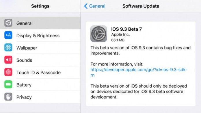 cool tech iOS 9.3 beta 7 ya está disponible para los desarrolladores y probadores de betas públicas