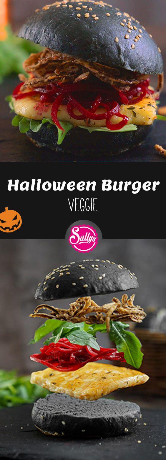Für die Vegetarier unter uns gibt es zu Halloween diesen Veggie-Burger. Er sieht nicht nur klasse aus, sondern schmeckt auch super lecker!