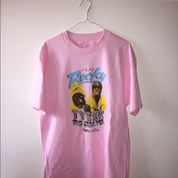 nwot pink rocky and tyler shirt got this on the golf wang website a while ago. send me offers please! asap rocky tyler the creator vince staples danny brown golfwang golfwang Tops Tees - Short Sleeve
