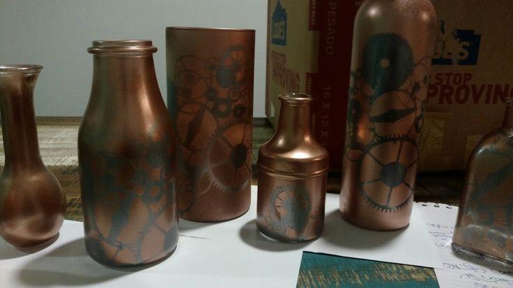 Steampunk centerpiece vases