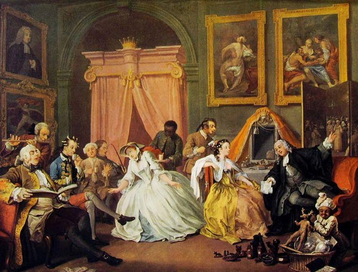 Matrimonio alla moda (4) - La Leeve della signora, William Hogarth; 1744; olio su tela; National Gallery, Londra
