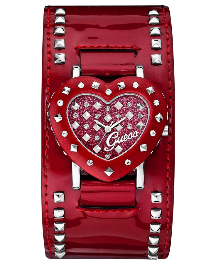 ~GUESS Watch, Women's Red Patent Leather Cuff Strap | The House of Beccaria#