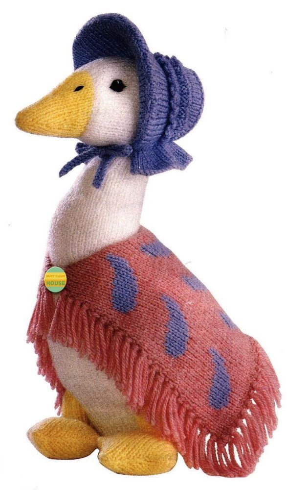 ALAN DART - JEMIMA PUDDLE-DUCK - BEATRIX POTTER ORIGINAL TOY KNITTING PATTERN #AlanDart