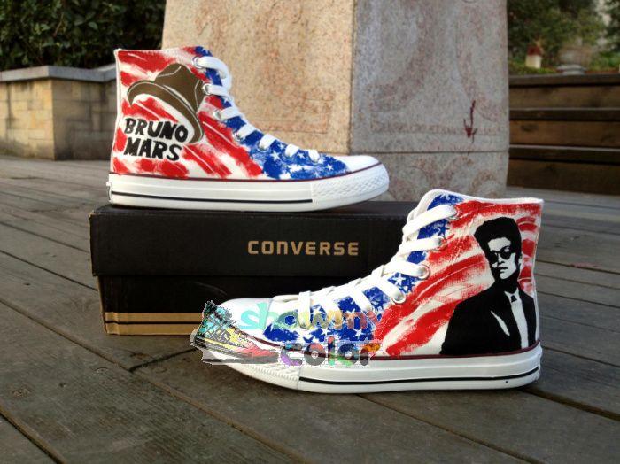 Бруно Марс Converse обувает Пользовательские Ручная роспись модные кроссовки Мужчины Женщины Настройка Converse 3965,86 - 4511,67