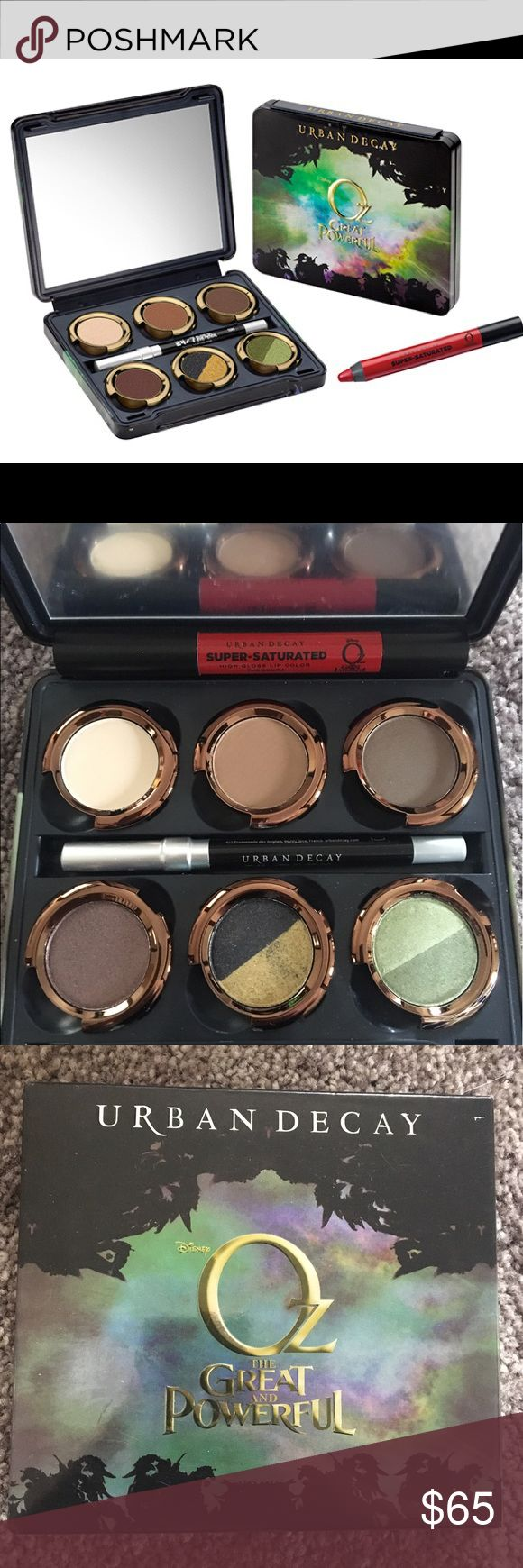 """Urban Decay: The Theodora Palette The Great and Powerful Oz: The Theodora Palette. New in box, never swatched. Mirror film still attached and includes look card. Authentic. Collector's item.   This limited edition (has long been sold out) palette is all about the bad witch! This set includes """"duo-shades"""" that are split in half, w/ a different color on each side of the pan. It also comes with a 24/7 Glide-on Eye Pencil & a Super-Saturated High Gloss Lip Color pencil. Great value!   Bundle to…"""