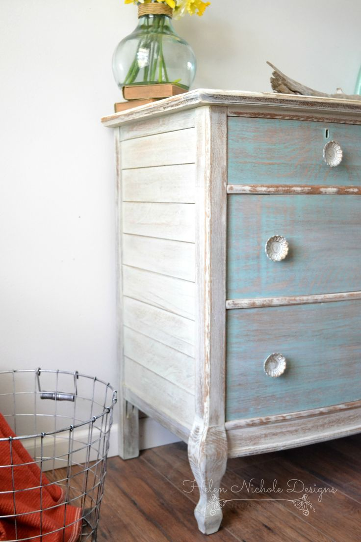 Beachy wood plank dresser helen nichole designs milk for Painting designs on wood furniture
