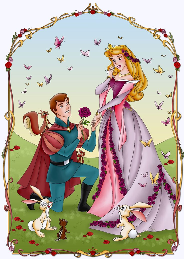 """ flowers , birds , animals and love a life on which she had waited for and dreamt of for years - Princess Aurora and her Prince """
