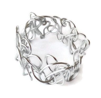 Bracelet- Handmade Silver Scrunchie- Made with aluminum wire