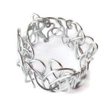 Bracelet Handmade Silver Scrunchie by cdesignjewelrybox