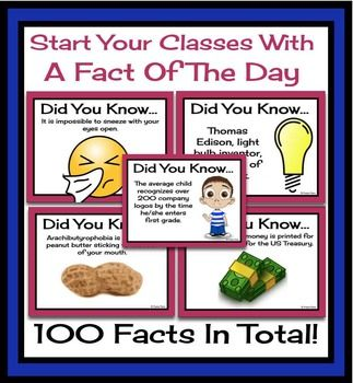 FACT OF THE DAY: Random Facts To Start Class (Presentation