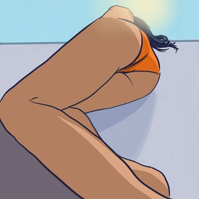 """Orange bikini"" By Krzysztof Adamczak #art #imwatchingyou #digitalpaintig #sketchbook #bikini #sun #krzysztofadamczak #tan #girl #draw #beauty"