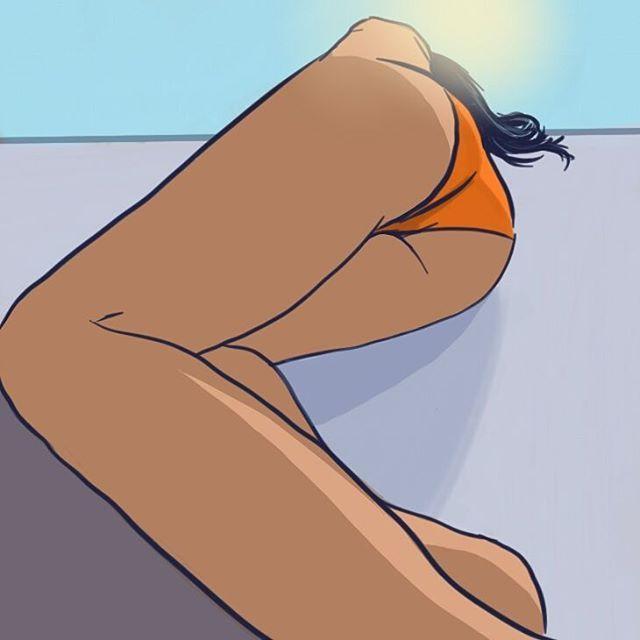 """""""Orange bikini"""" By Krzysztof Adamczak #art #imwatchingyou #digitalpaintig #sketchbook #bikini #sun #krzysztofadamczak #tan #girl #draw #beauty"""