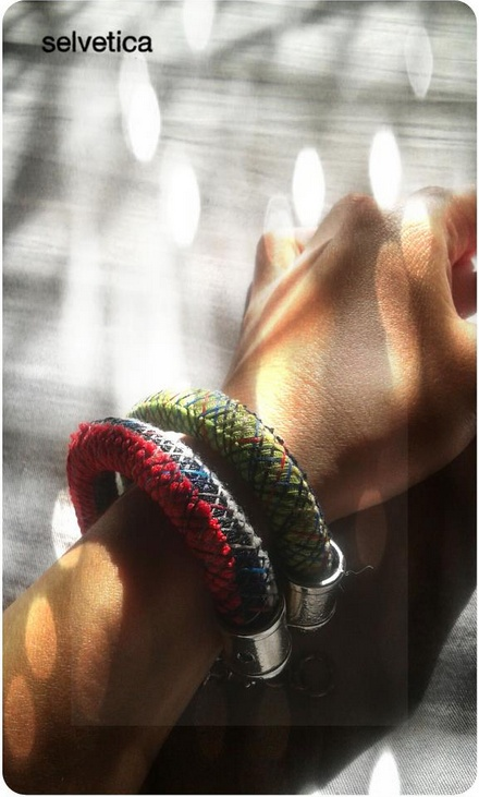 Meet Zumbu. Thick bracelet made out of scrap material and thread.   For order: http://www.facebook.com/Selvetica