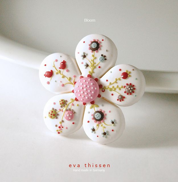 Bloom hand made polymer clay brooch in white. Made to order by Eva Thissen Gallery, via Flickr