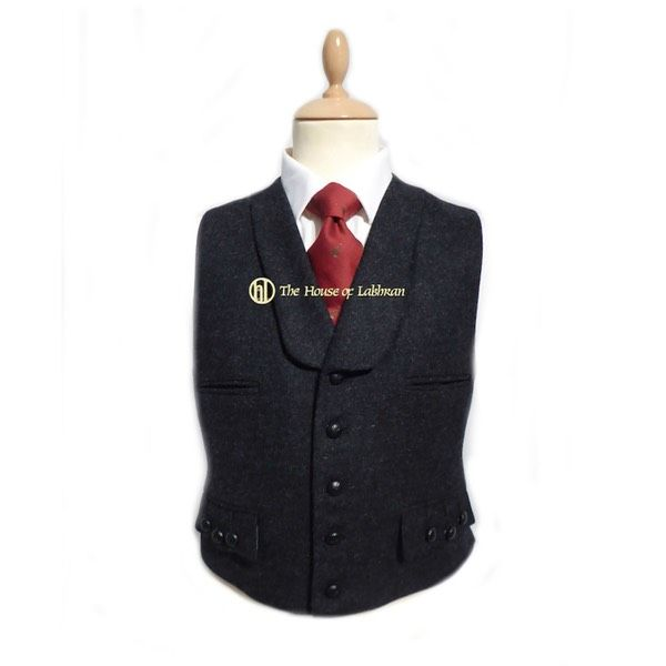 straight fronted scottish charcoal bespoke kilt waistcoat with shawl collar. made to order highland wear from scotaldn