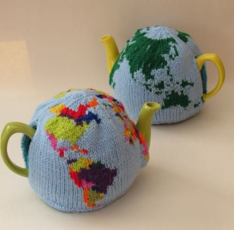 The World Tea Cosy Knitting Pattern is a brilliant knitting pattern that allows you to knit the world to keep your teapot hot.  The world tea cosy is